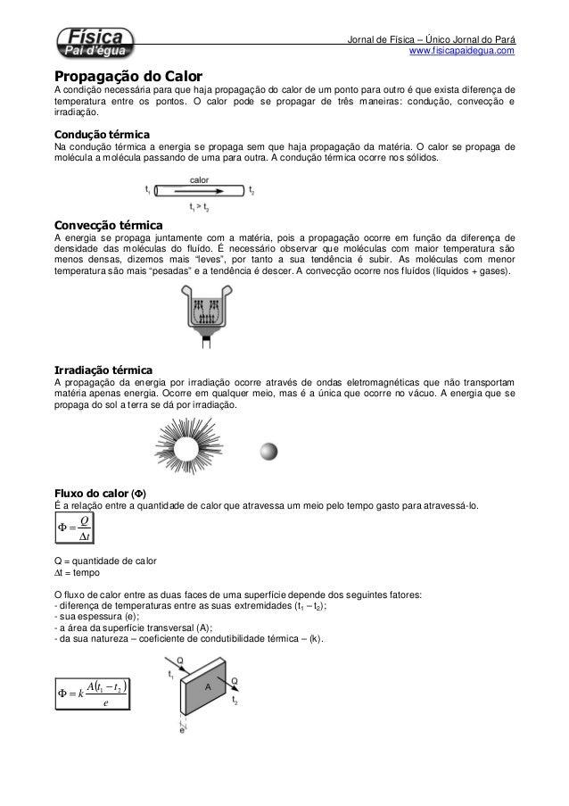 Jornal de Física – Único Jornal do Pará www.fisicapaidegua.com A condição necessária para que haja propagação do calor de ...