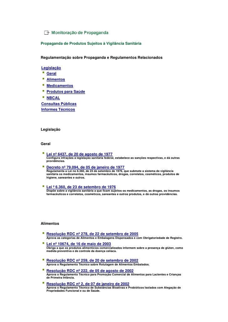 Propaganda de Produtos Sujeitos à Vigilância Sanitária   Regulamentação sobre Propaganda e Regulamentos Relacionados  Legi...