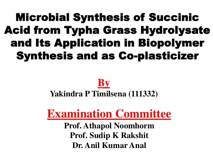 Microbial Synthesis of SuccinicAcid from Typha Grass Hydrolysate and Its Application in Biopolymer  Synthesis and as Co-pl...