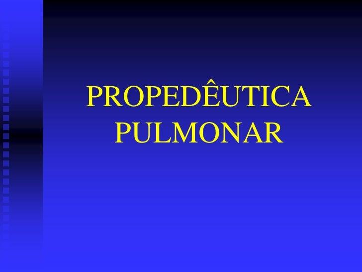 Propedêutica pulmonar