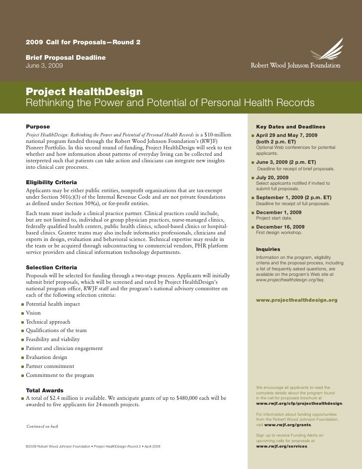 2009 Call for Proposals—Round 2      Brief Proposal Deadline     June 3, 2009        Project HealthDesign     Rethinking t...