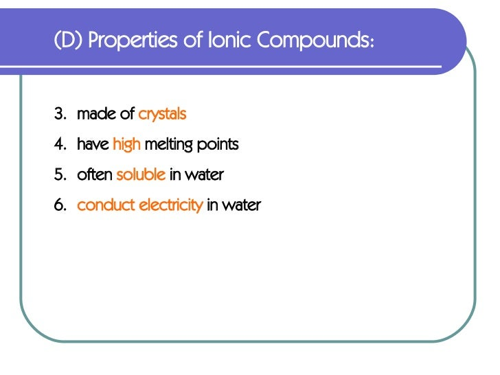 Physical Properties Of Ionic Bonds