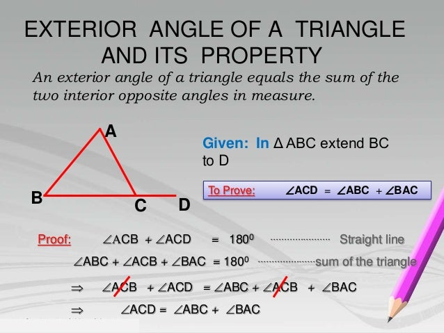 Properties of a triangle for Exterior of an angle definition
