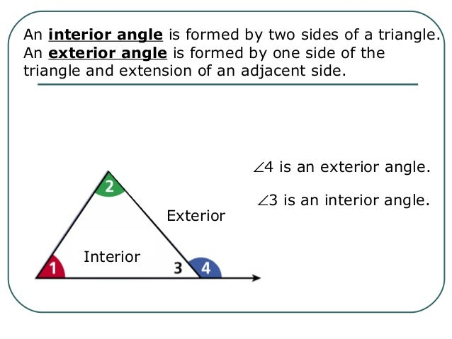 Properties of triangles Interior and exterior angles of a triangle
