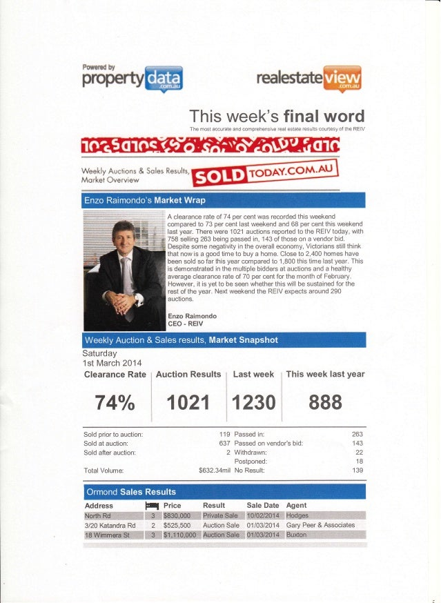 This week's final wordThe most accurate and comprehensive real estate results courtesy of the REIV Waakly Aucti*n* & $*las...