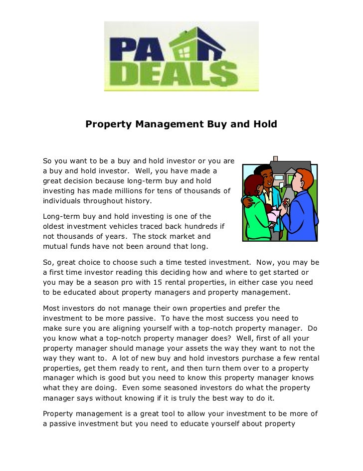 Property Management Buy and HoldSo you want to be a buy and hold investor or you area buy and hold investor. Well, you hav...
