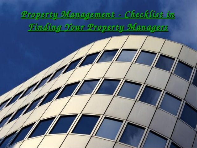Property management - Checklist in finding your property managers