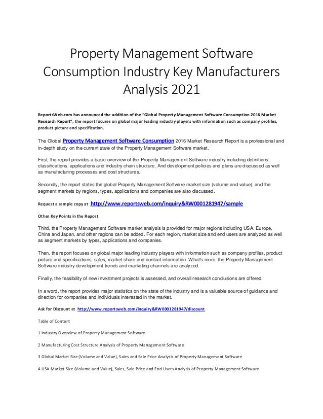 global property management software consumption industry