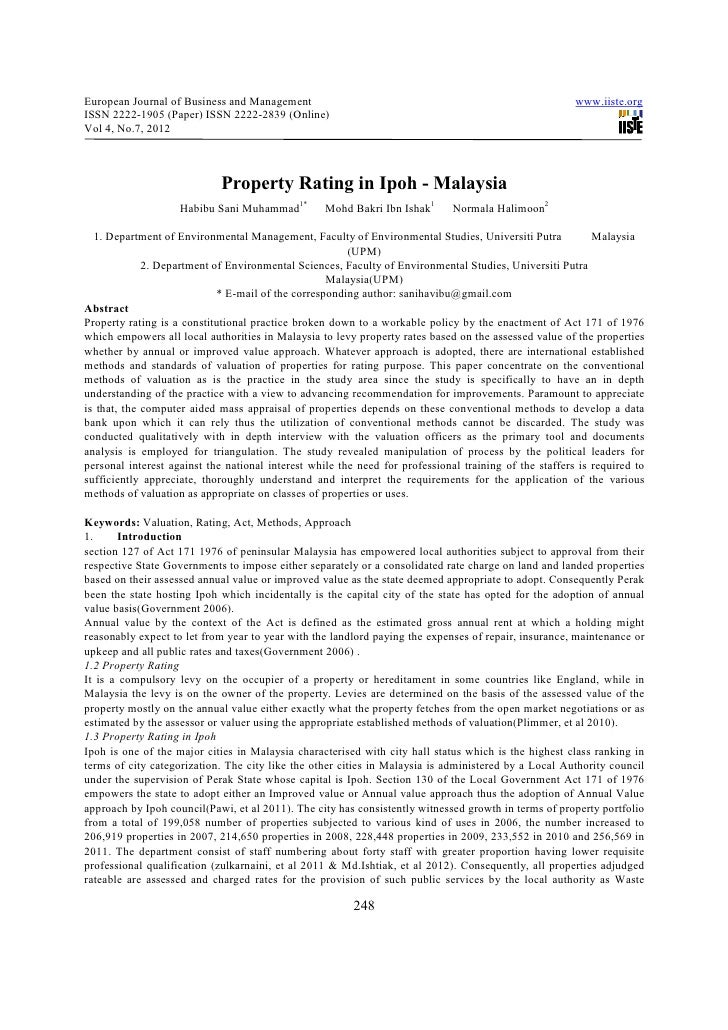 Property rating in ipoh   malaysia
