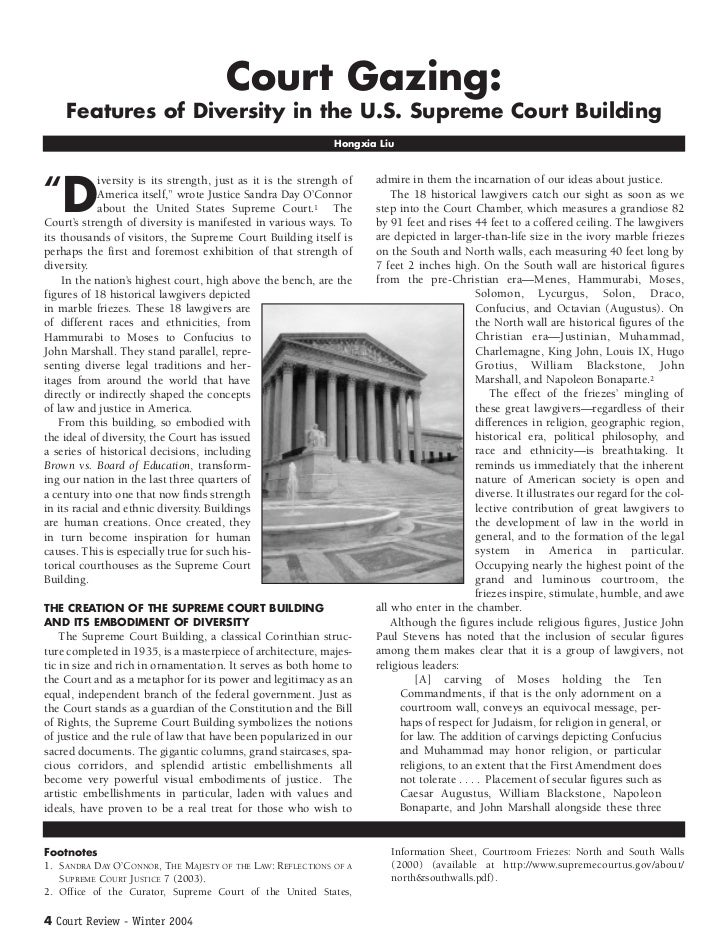 Court Gazing:    Features of Diversity in the U.S. Supreme Court Building                                                 ...