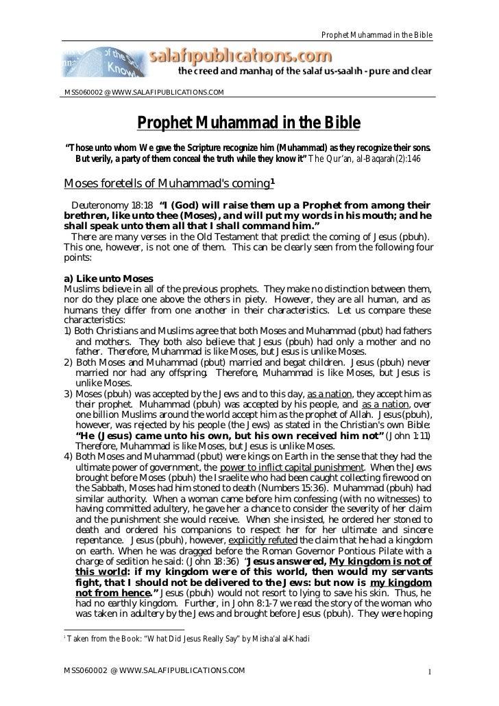 """Prophet Muhammad in the BibleMSS060002 @ WWW.SALAFIPUBLICATIONS.COM                       Prophet Muhammad in the Bible""""Th..."""