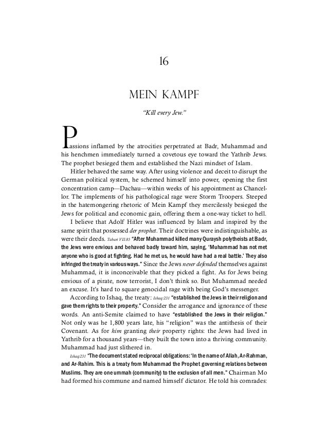 """16 MEIN KAMPF """"Kill every Jew."""" Passions inflamed by the atrocities perpetrated at Badr, Muhammad and his henchmen immedia..."""