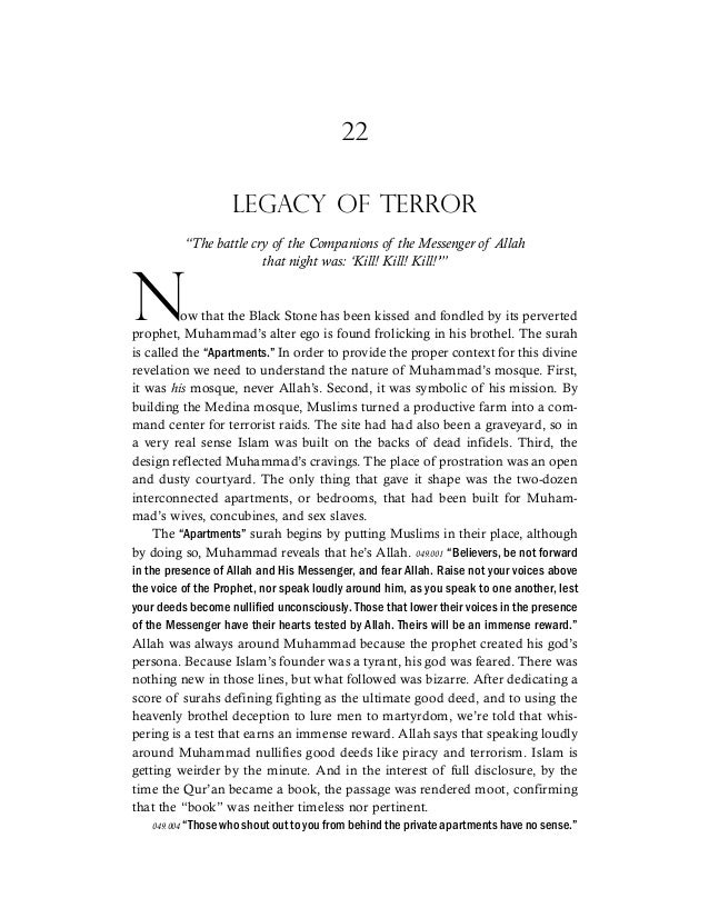 "22 LEGACY OF TERROR ""The battle cry of the Companions of the Messenger of Allah that night was: 'Kill! Kill! Kill!'"" Now t..."