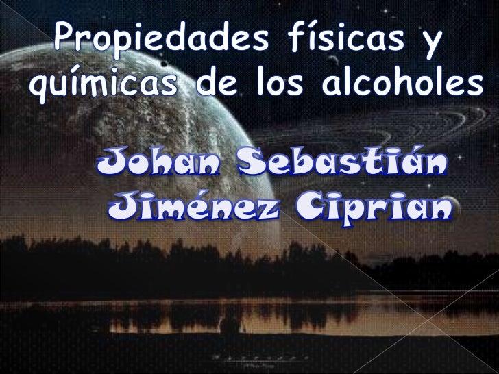 Un alcohol se basanprincipalmente en suestructura. El alcohol estacompuesto por un alcano yagua. Contiene un grupohidrofób...