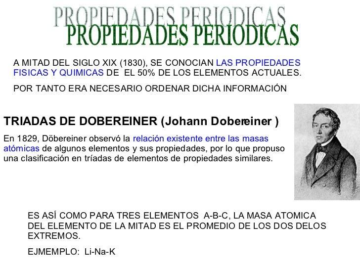 PROPIEDADES PERIODICAS A MITAD DEL SIGLO XIX (1830), SE CONOCIAN  LAS PROPIEDADES FISICAS Y QUIMICAS  DE  EL 50% DE LOS EL...