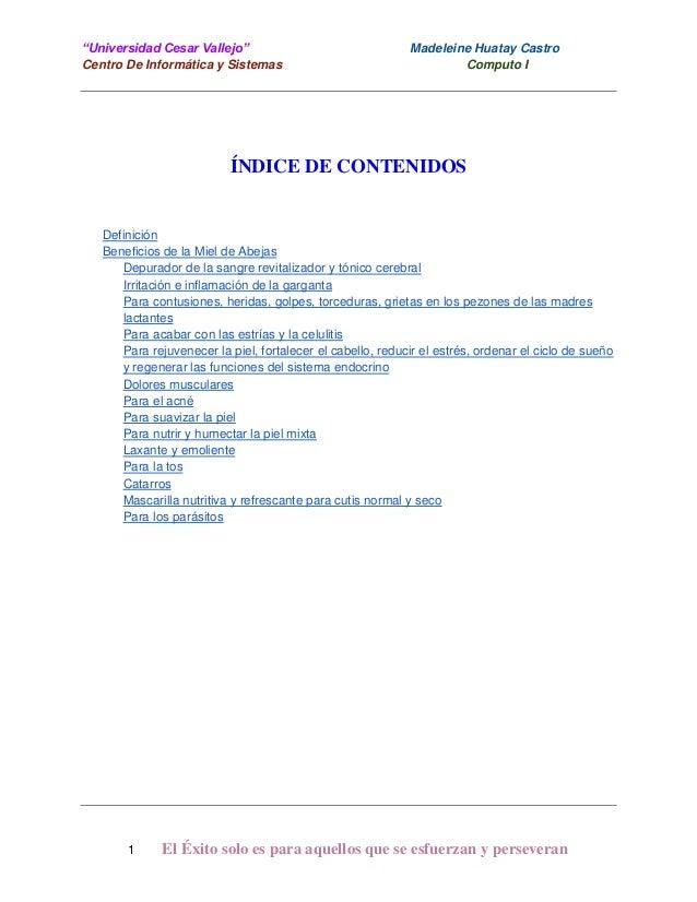 """""""Universidad Cesar Vallejo"""" Centro De Informática y Sistemas  Madeleine Huatay Castro Computo I  ÍNDICE DE CONTENIDOS  Def..."""