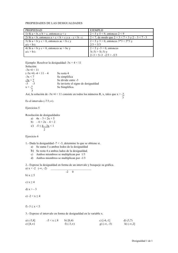 PROPIEDADES DE LAS DESIGUALDADES  PROPIEDAD                                              EJEMPLO 1) Si a < b, y b > c, ent...