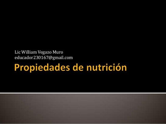 Propiedades de nutrición
