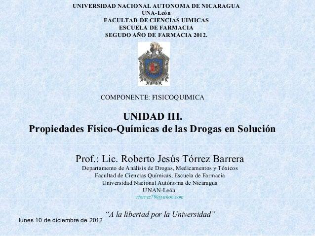 Propiedades fisicoquimicas de las drogas en solucion