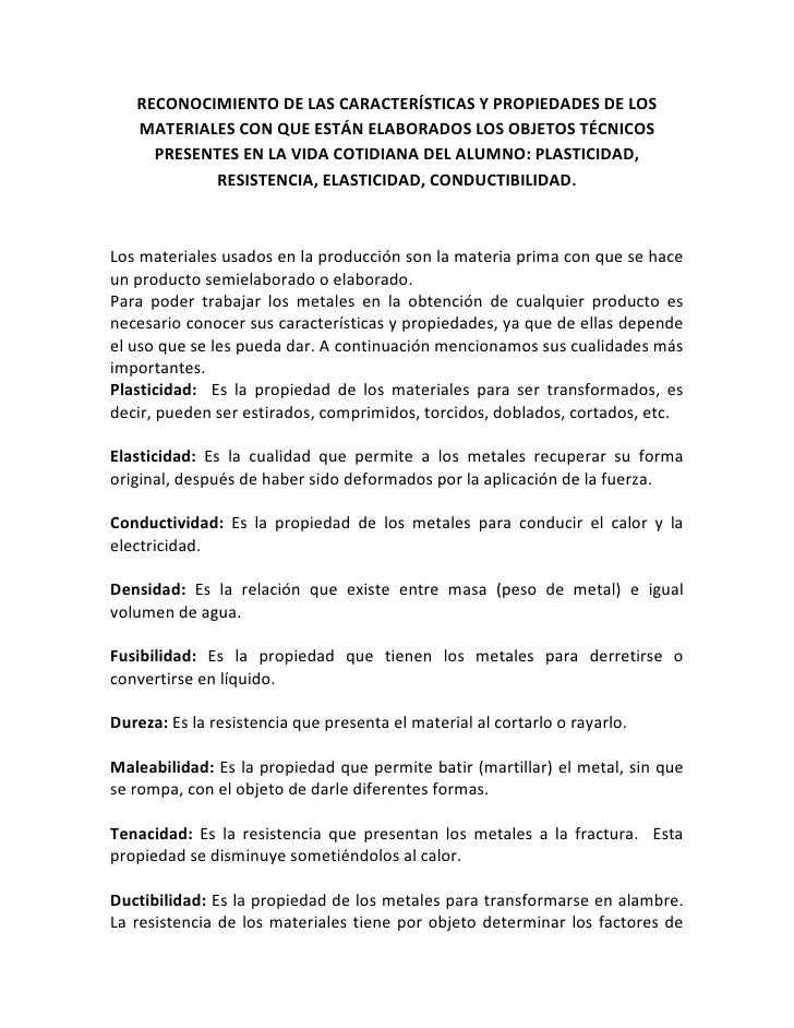 RECONOCIMIENTO DE LAS CARACTERÍSTICAS Y PROPIEDADES DE LOS   MATERIALES CON QUE ESTÁN ELABORADOS LOS OBJETOS TÉCNICOS     ...