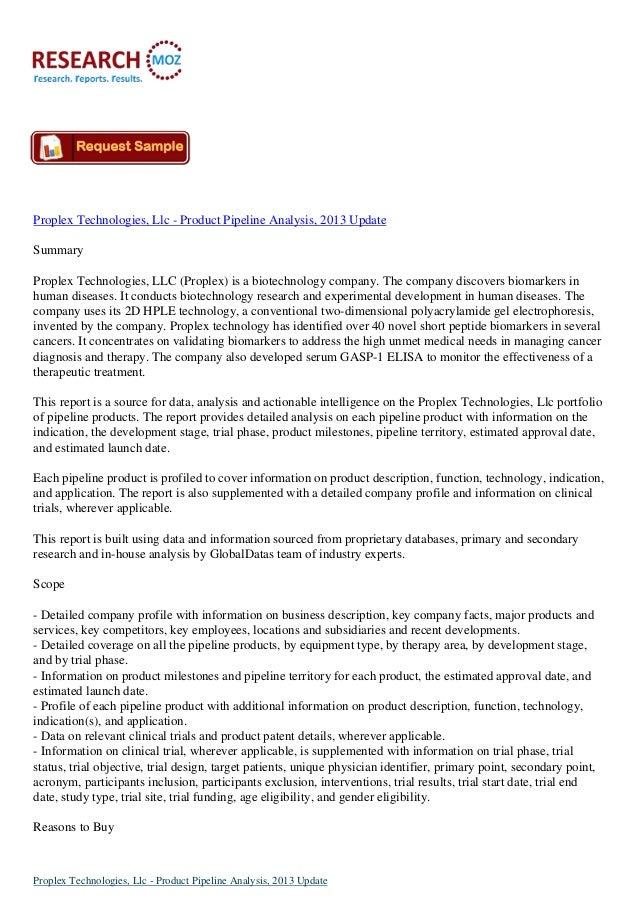 Proplex Technologies, Llc - Product Pipeline Analysis, 2013 Update Summary Proplex Technologies, LLC (Proplex) is a biotec...