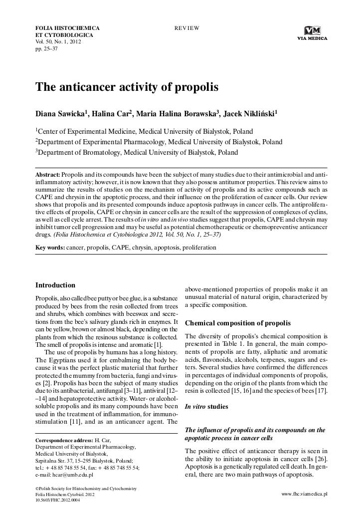 Propolis Anticancer Activity Reviewed