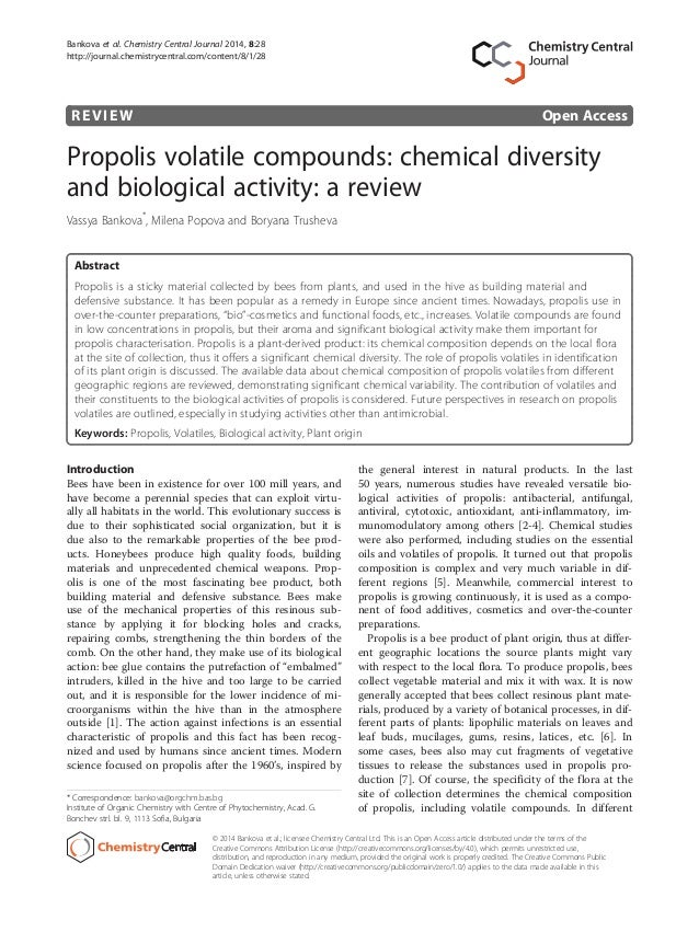 REVIEW Open Access Propolis volatile compounds: chemical diversity and biological activity: a review Vassya Bankova* , Mil...