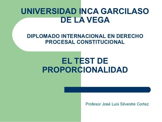 UNIVERSIDAD INCA GARCILASO        DE LA VEGA DIPLOMADO INTERNACIONAL EN DERECHO      PROCESAL CONSTITUCIONAL        EL TES...