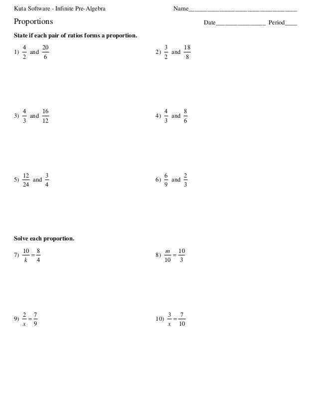 Kuta Software - Infinite Pre-Algebra Name___________________________________ Period____Date________________Proportions Sta...