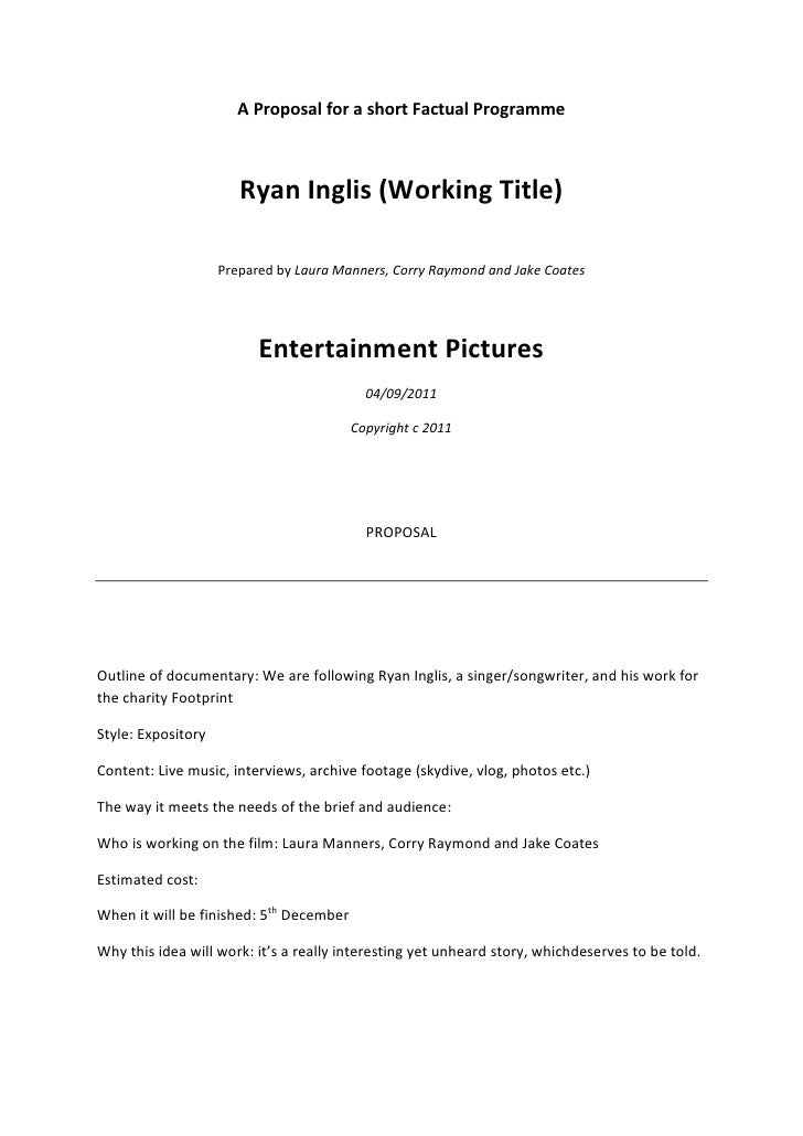 A Proposal for a short Factual Programme<br />Ryan Inglis (Working Title)<br />Prepared by Laura Manners, Corry Raymond an...