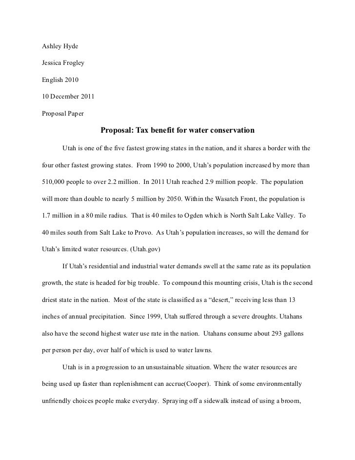 Ashley HydeJessica FrogleyEnglish 201010 December 2011Proposal Paper                      Proposal: Tax benefit for water ...