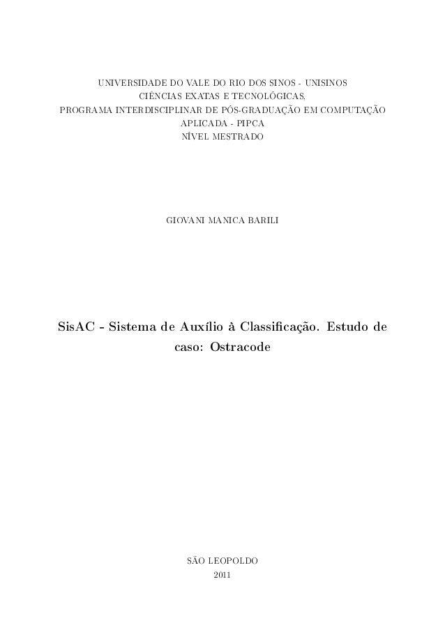 SisAC. Sistema de Auxílio à Classificação. Estudo de Caso: Ostracode