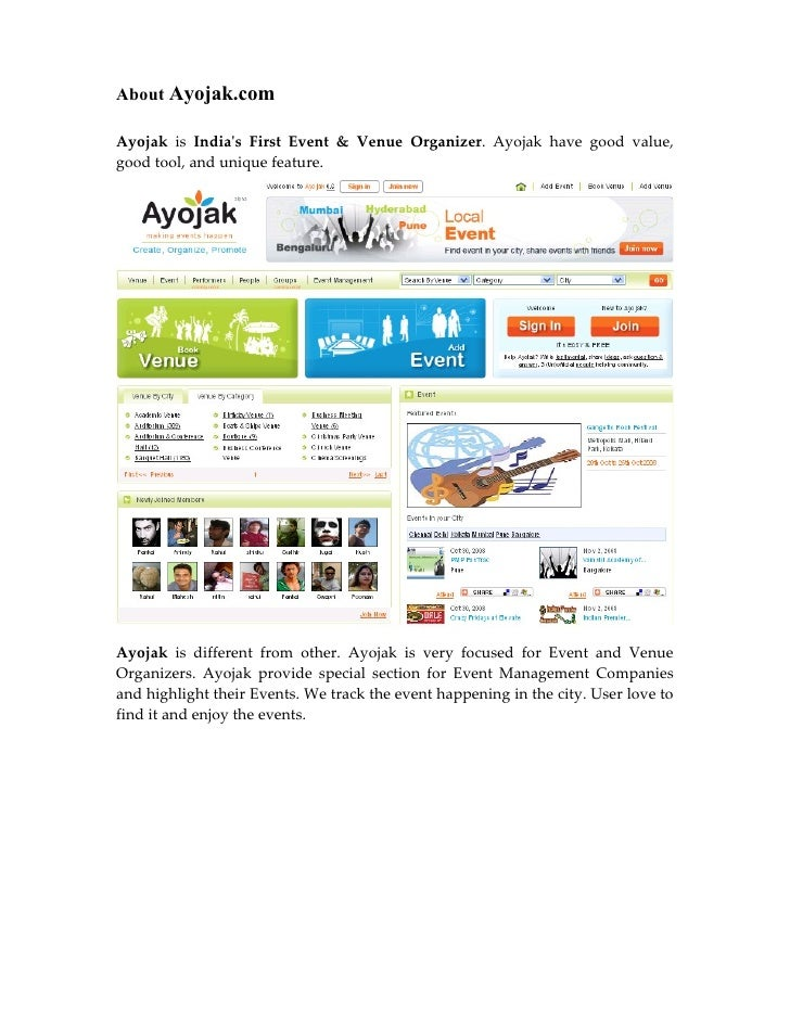 About Ayojak.com  Ayojak is India's First Event & Venue Organizer. Ayojak have good value, good tool, and unique feature. ...