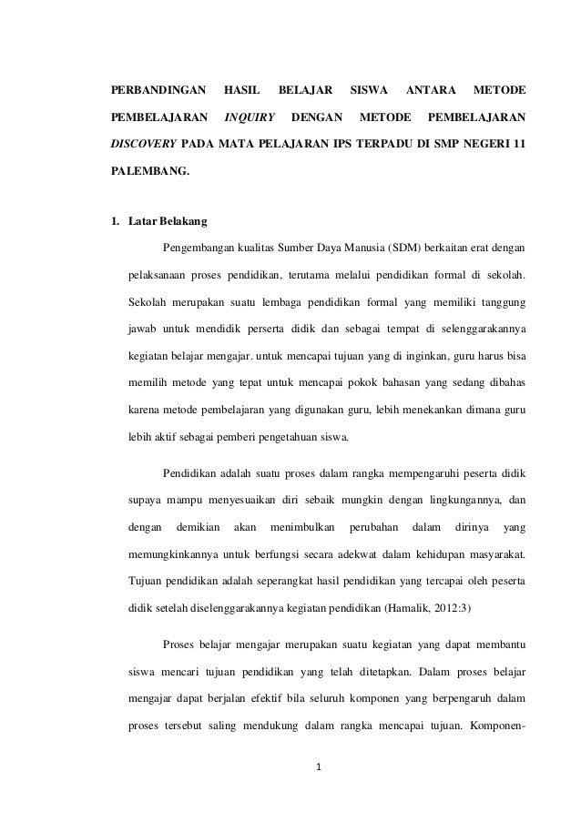 PERBANDINGAN             HASIL     BELAJAR          SISWA       ANTARA      METODEPEMBELAJARAN             INQUIRY     DEN...