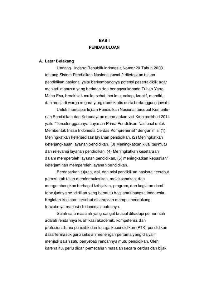 BAB I                          PENDAHULUANA. Latar Belakang        Undang-Undang Republik Indonesia Nomor 20 Tahun 2003  t...