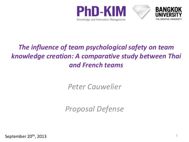 The influence of team psychological safety on team knowledge creation: A comparative study between Thai and French teams P...