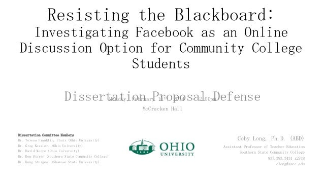 Resisting the Blackboard: Investigating Facebook as an Online Discussion Option for Community College Students Monday, Feb...