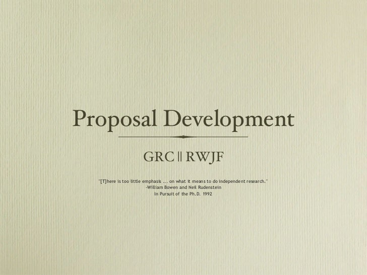 """Proposal Development                       GRC 