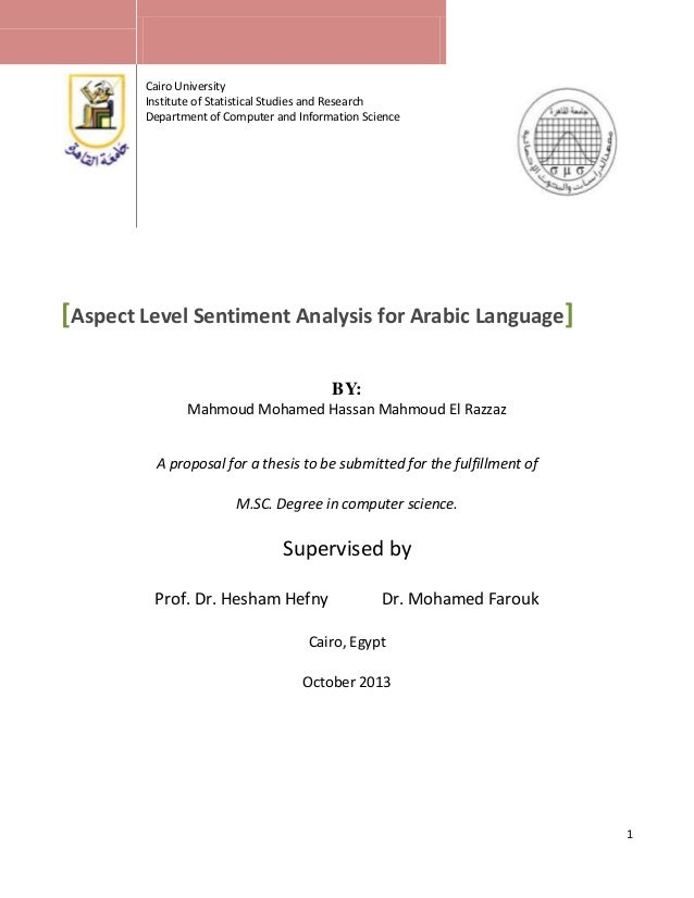 Cairo University Institute of Statistical Studies and Research Department of Computer and Information Science  [Aspect Lev...
