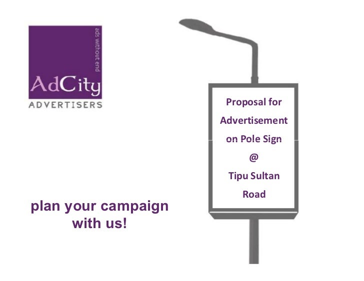 Proposal For Advertisement On Pole Sign @ Tipu Sultan Road