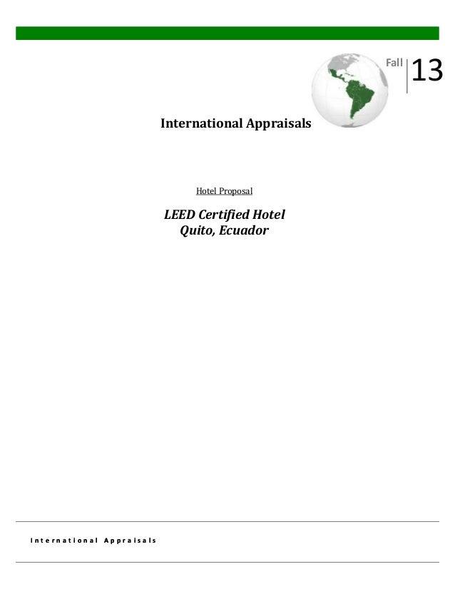 Fall  International Appraisals  Hotel Proposal  LEED Certified Hotel Quito, Ecuador  International Appraisals  13