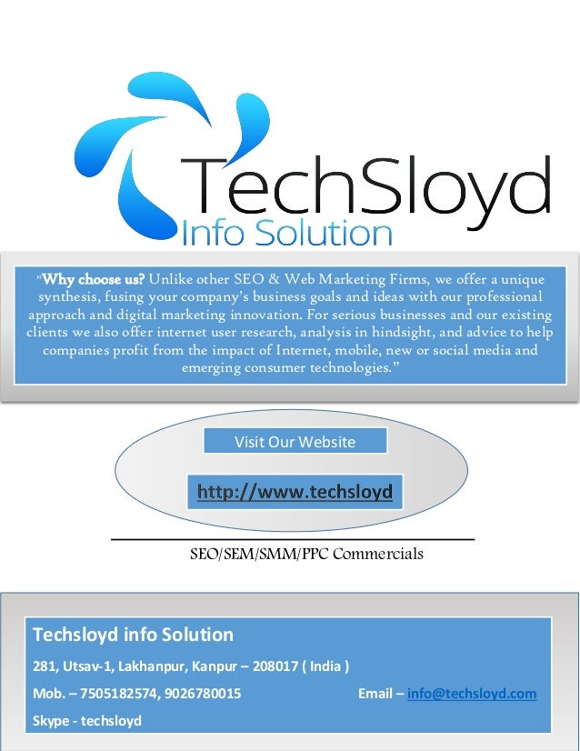 """SEO/SEM/SMM/PPC Commercials """"Why choose us? Unlike other SEO & Web Marketing Firms, we offer a unique synthesis, fusing yo..."""