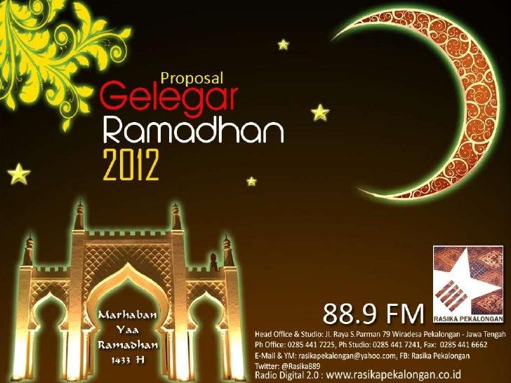 Proposal Gelegar Ramadhan 2012 Rasika Pekalongan 88,9 FM