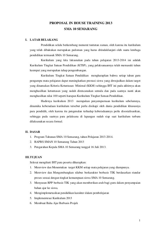 Proposal iht SMAN 10 SMG juli 2013