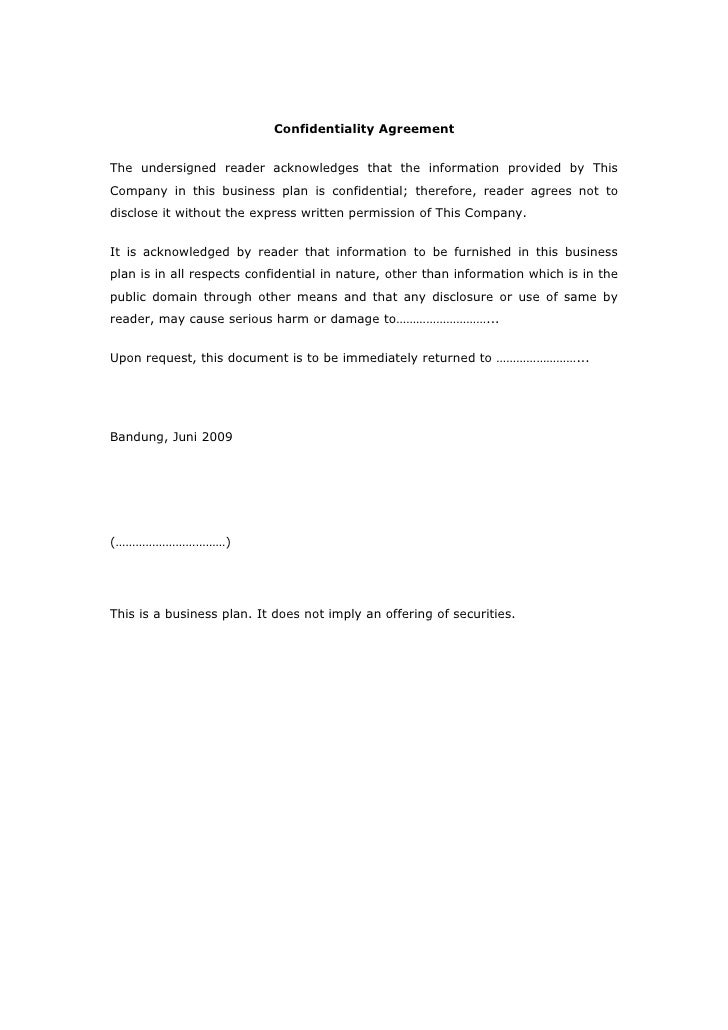 Confidentiality Agreement   The undersigned reader acknowledges that the information provided by This Company in this busi...
