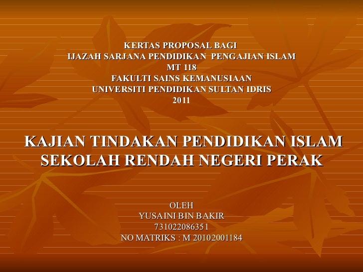 Proposal kajian tindakan pendidikan islam