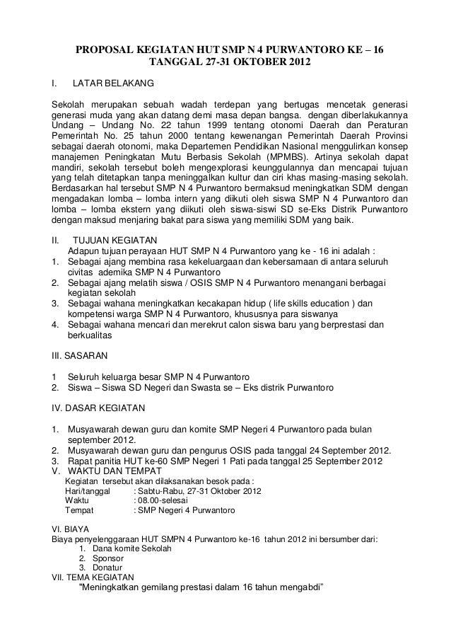 Proposal kegiatan hut smp n 4 purwantoro ke