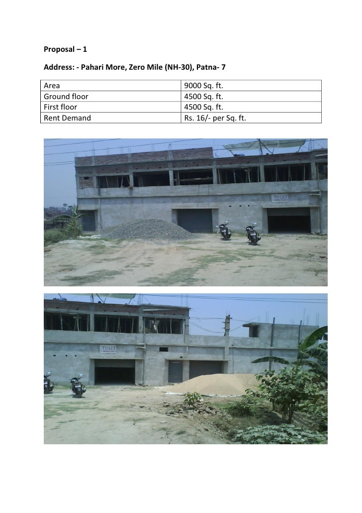 Proposal – 1Address: - Pahari More, Zero Mile (NH-30), Patna- 7Area                                   9000 Sq. ft.Ground f...