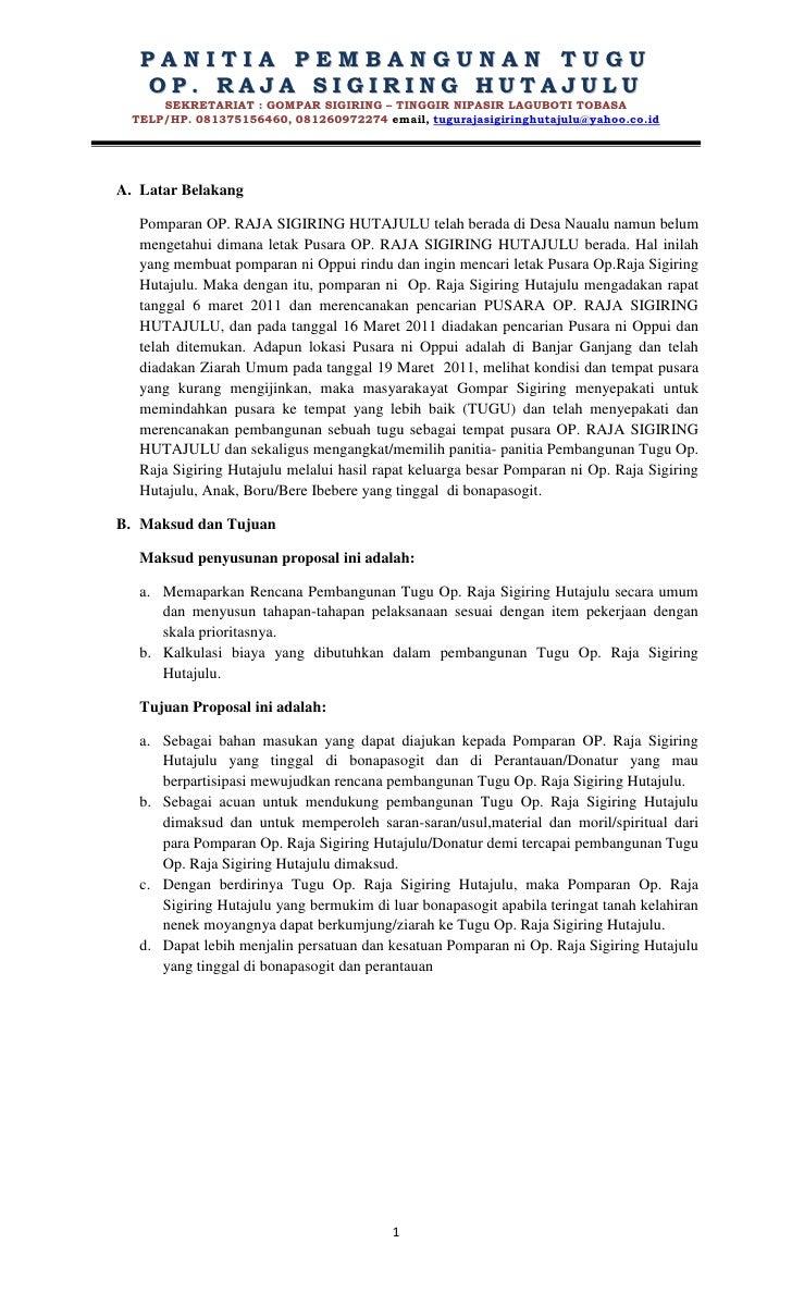 Proposal pembangunan tugu op. raja sigiring