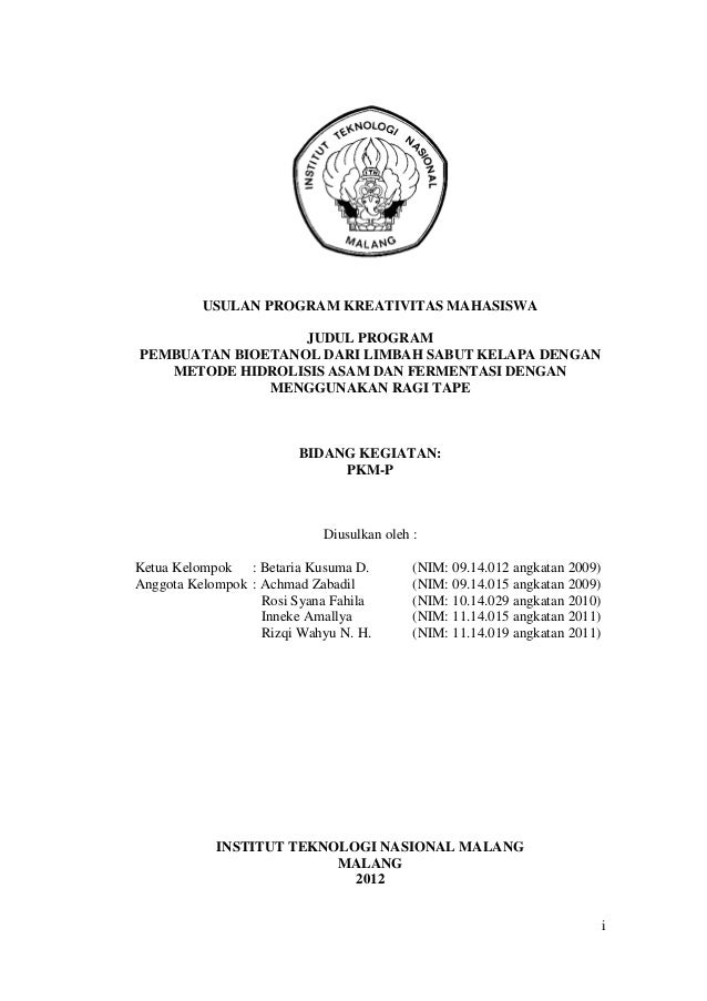 Proposal penelitian pkm  bioetanol dari sabut kelapa